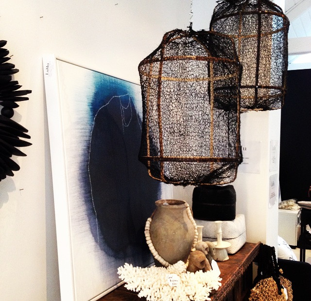 Z5 Pendant Black Bamboo with Black Sisal Cover - H57cm x D42cm By AY I   LuMu Interiors