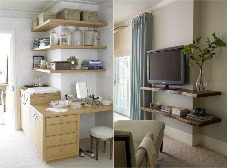 Schlafzimmer Schminktisch ~ Regale um die ecke bauen wohnzimmer tv schlafzimmer schminktisch