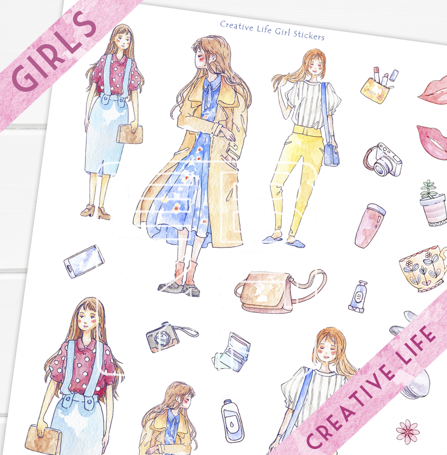 Creative Girl Stickers Printable - Daily Fashion Watercolor Drawing ... for Cute Korean Printable Stickers  55nar