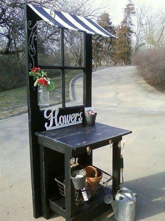 Repurpose an old door as a flower stall | Furniture ideas ...