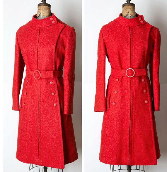 Vintage Lane Bryant Red Mod MILITARY Wool Coat L/XL