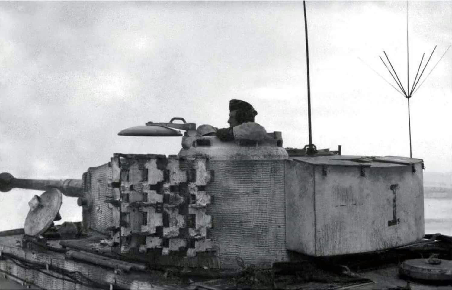 Major Clemens Graf von Kageneck in the turret of his Befehls Tiger ...