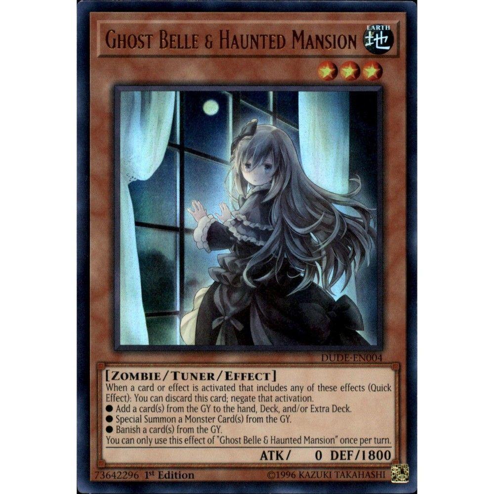 Yugioh Duel Devastator Ultra Rare Ghost Belle And Haunted Mansion Dude En004 Alternate Art Haunted Mansion Monster Cards Ghost