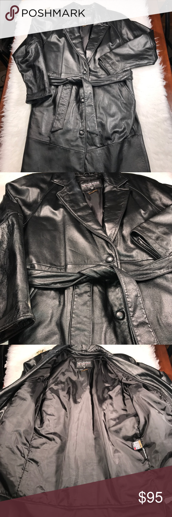 Men's Small Wilson's Black Leather trench coat Wilson's