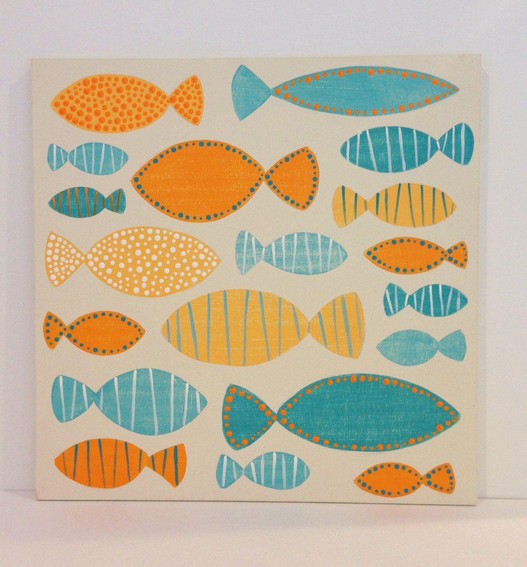 Dipinto arte della parete in legno aqua e di sweetbananasart pesce