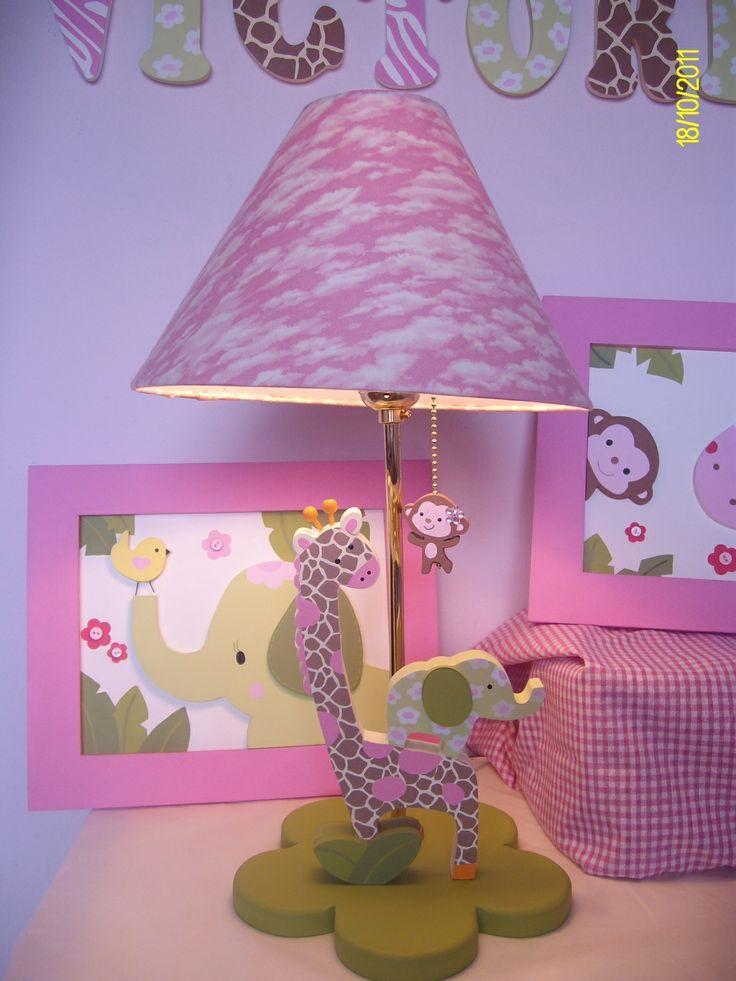 L mpara jirafa y elefante lib lulas ni os decoracion habitacion ni o y pintura en madera - Lamparas y decoracion ...
