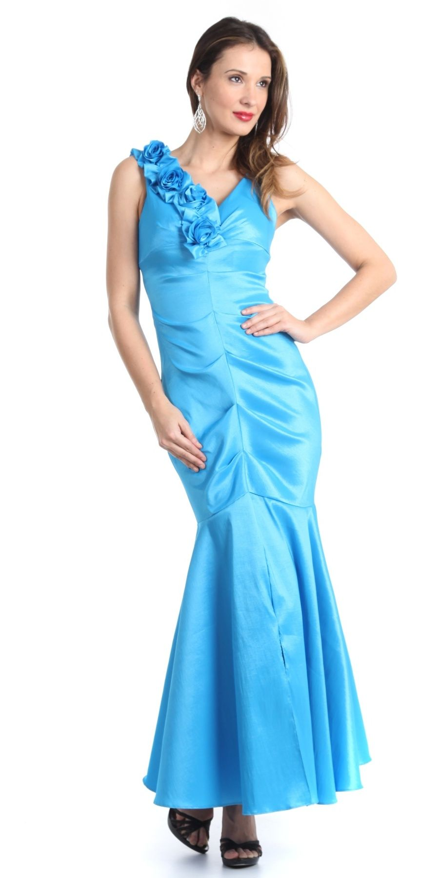Mermaid Gown Turquoise Dress Long Satin Flower Strap Flaired Skirt ...