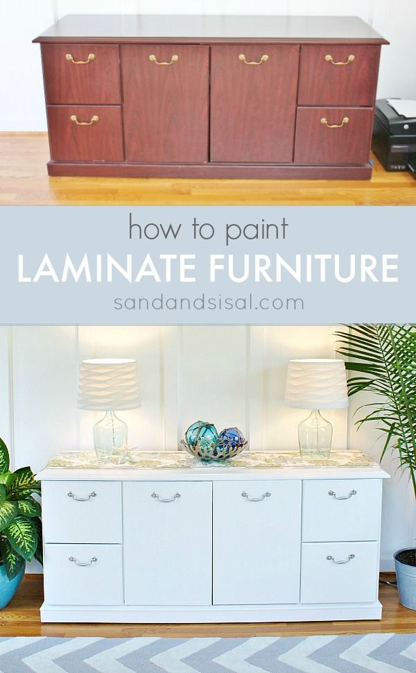 How To Paint Laminate Furniture Sand And Sisal Painting Laminate Furniture Laminate Furniture Furniture Makeover