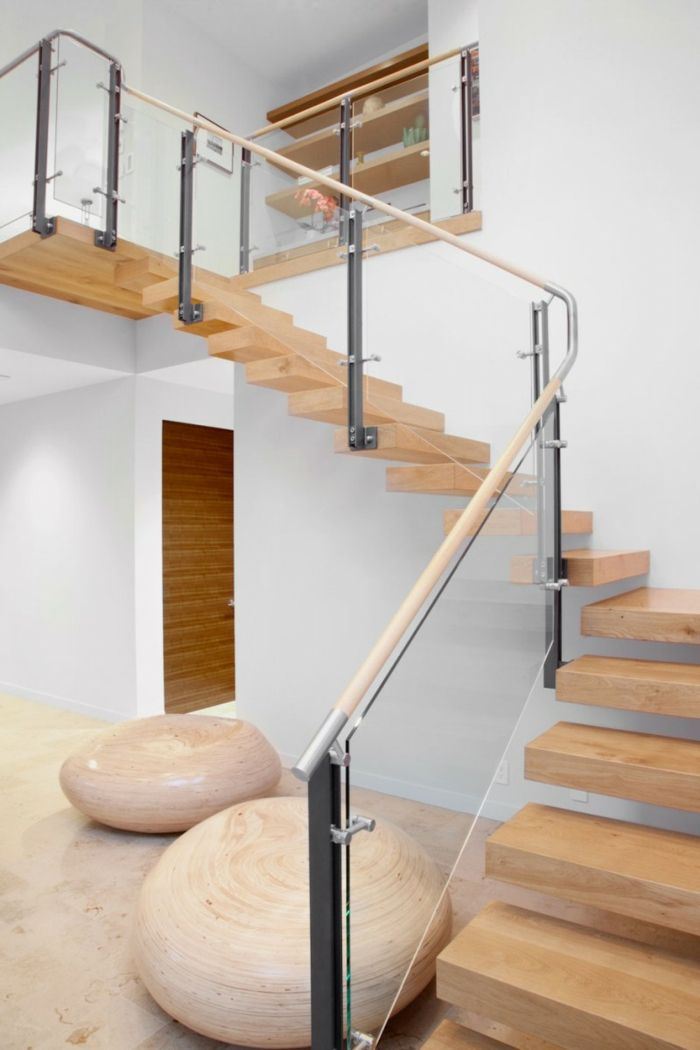 Wohnideen Holz treppenhaus gestalten geländer glas treppenstufen holz wohnideen