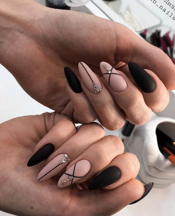 80 Matte Black Coffin Almond Nails Design Ideas To Try Latest Fashion Trends For Woman Matte Nails Design Almond Nails Designs Classy Nail Designs