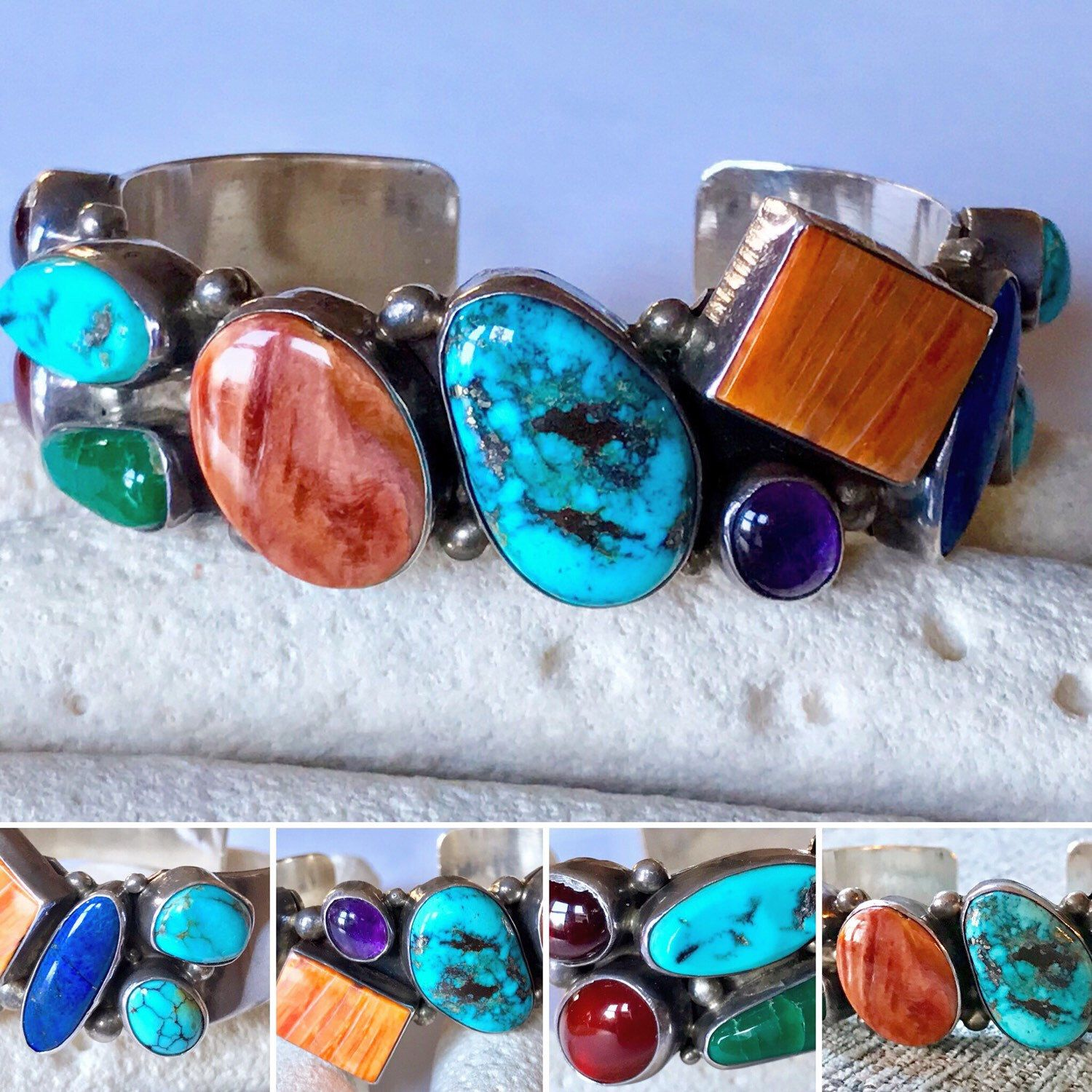Boho Hippie Style Bracelet Old Jewelry Vintage Bracelet Vintage Jewelry for Her Silver colored Bracelet with Multicolored Stones