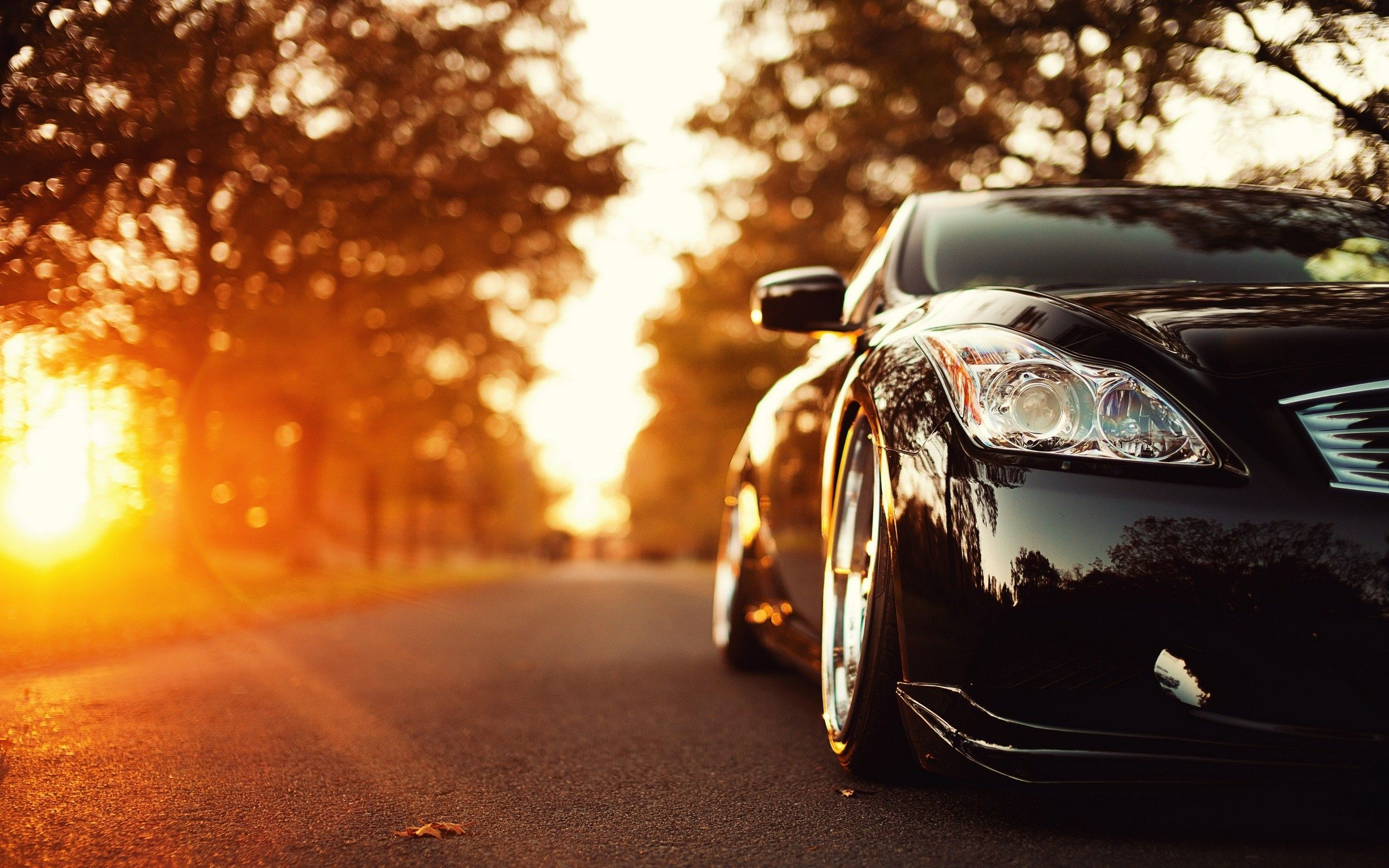 Black Shiny Car In The Sunshine Hd Autumn Season Cars And Other