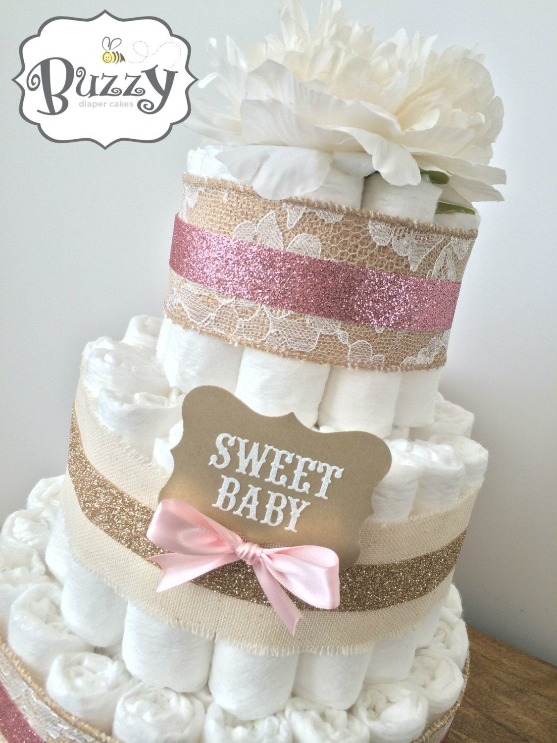Pink and lacey burlap shabby chic diaper cake for girl for Pink diaper bouquet