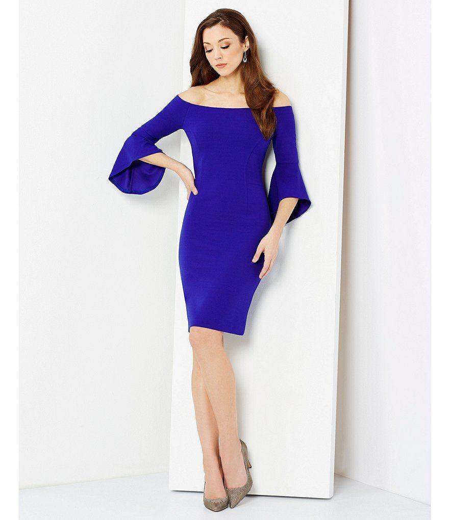 06fa2c62eb2 Shop for Antonio Melani Darleen Off-The-Shoulder Bell Sleeve Solid Scuba  Crepe Dress at Dillards.com. Visit Dillards.com to find clothing