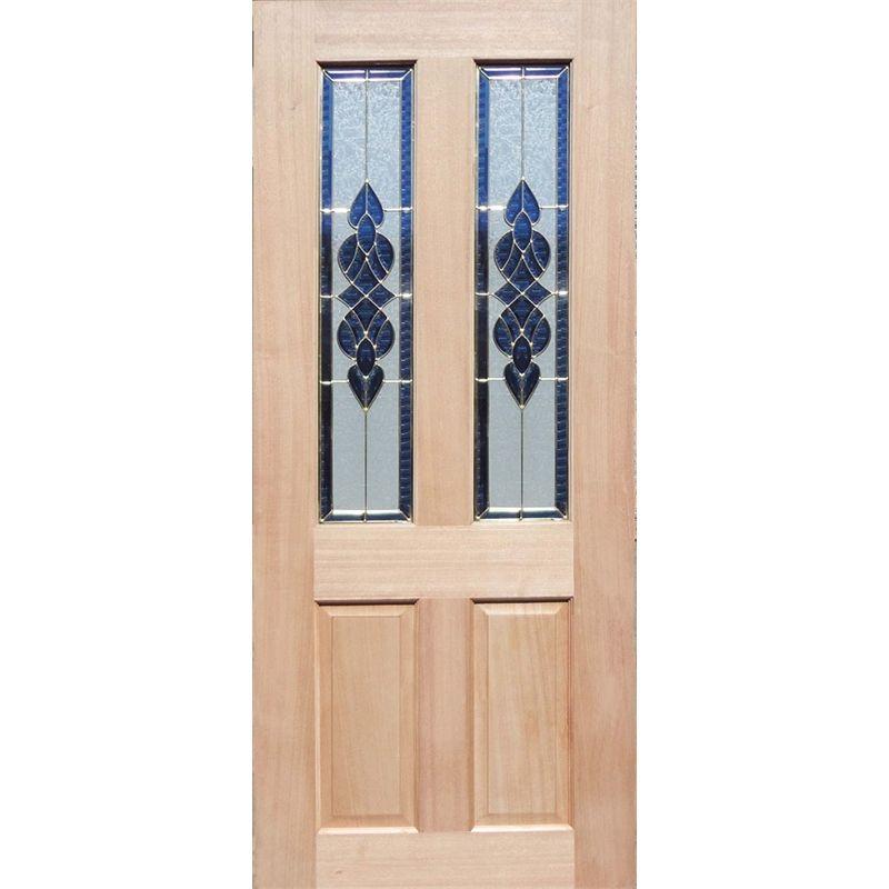 Woodcraft Doors 2040 x 820 x 40mm Cass Entrance Door With Blue Bevelled Glass
