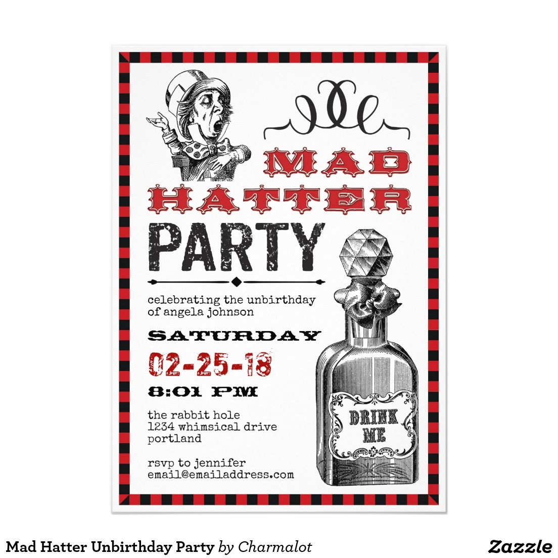Mad Hatter Unbirthday Party Adult Birthday Invitations Pinterest