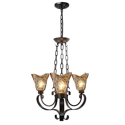 Laluz Traditional Chandeliers 3 Light Pendant Lighting Gl Ceiling Lights