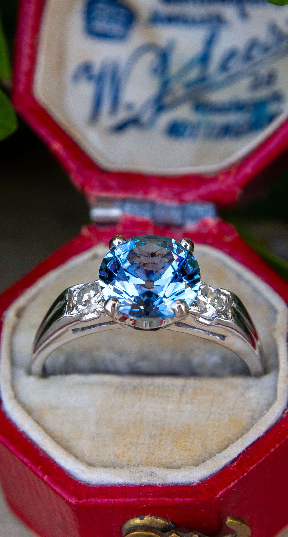 2.3CT No Heat Montana Sapphire Engagement Ring Vintage