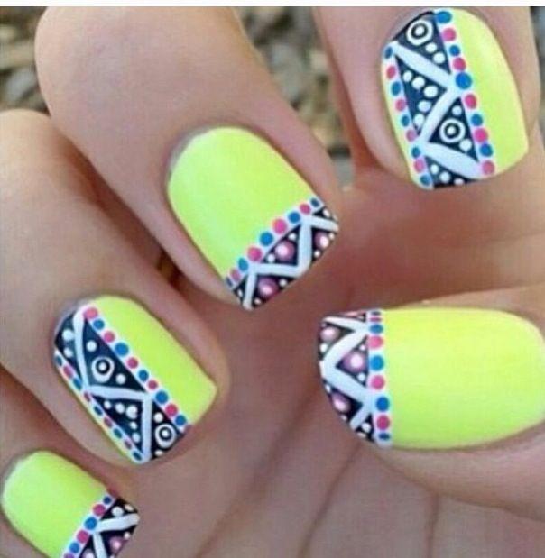 Bright Aztec Design Nails Nails 3 Pinterest Aztec Designs