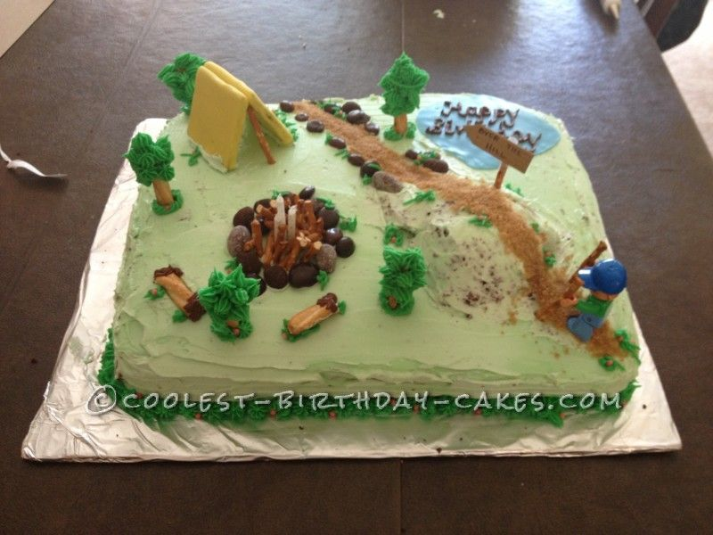 Cool over the hill hiking cake for a 40 year old man