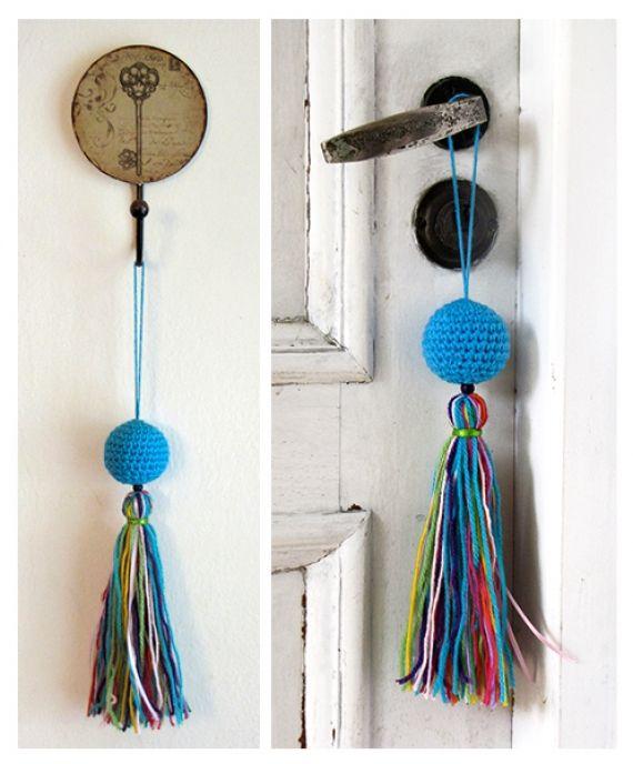 Borlas de lana con tejido al crochet buscar con google for Borlas para muebles