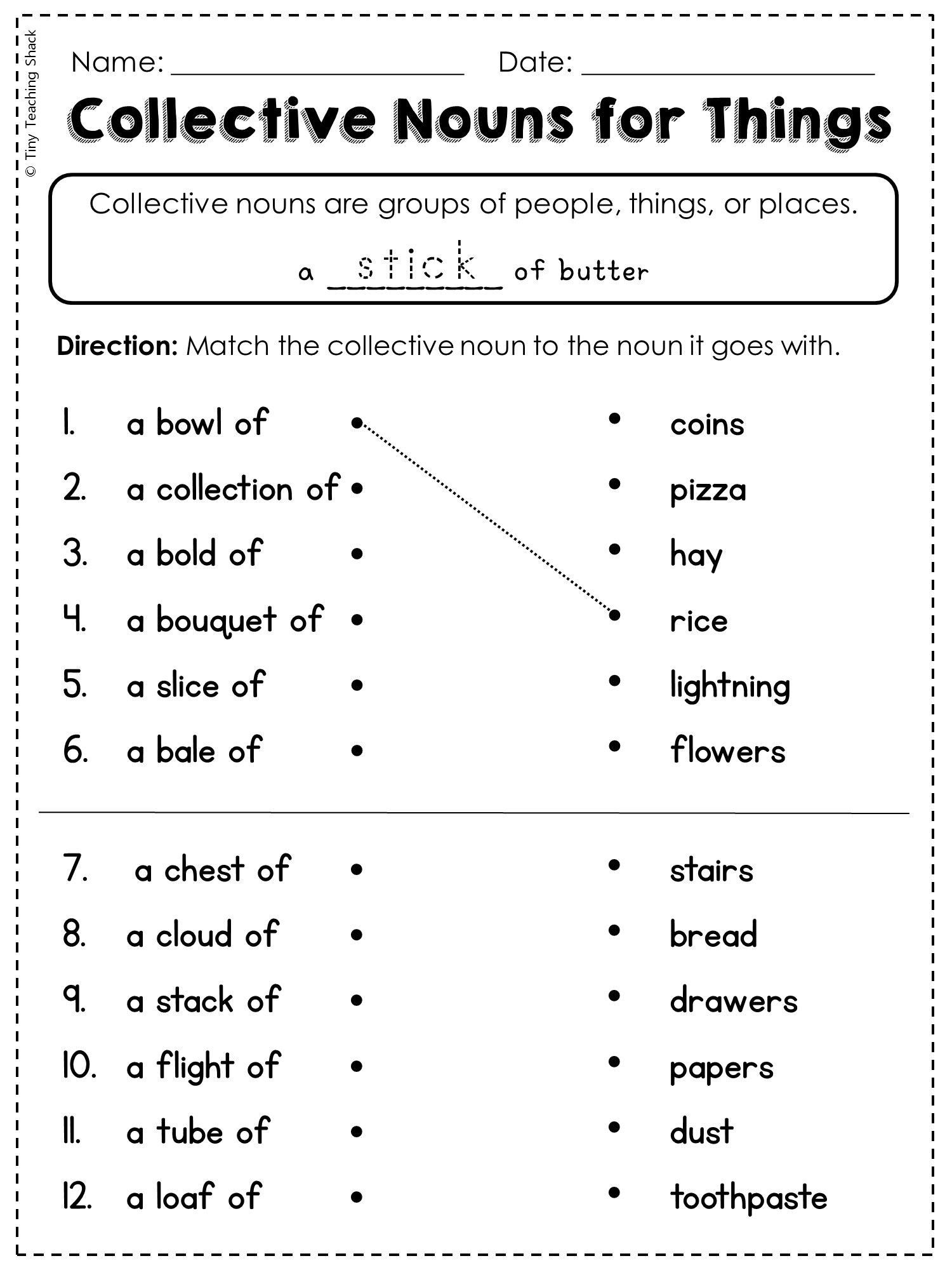 Second Grade Grammar Worksheets 2nd Grade Language Arts and Grammar  Practice Sheets Freebie   Collective nouns worksheet [ 2000 x 1500 Pixel ]