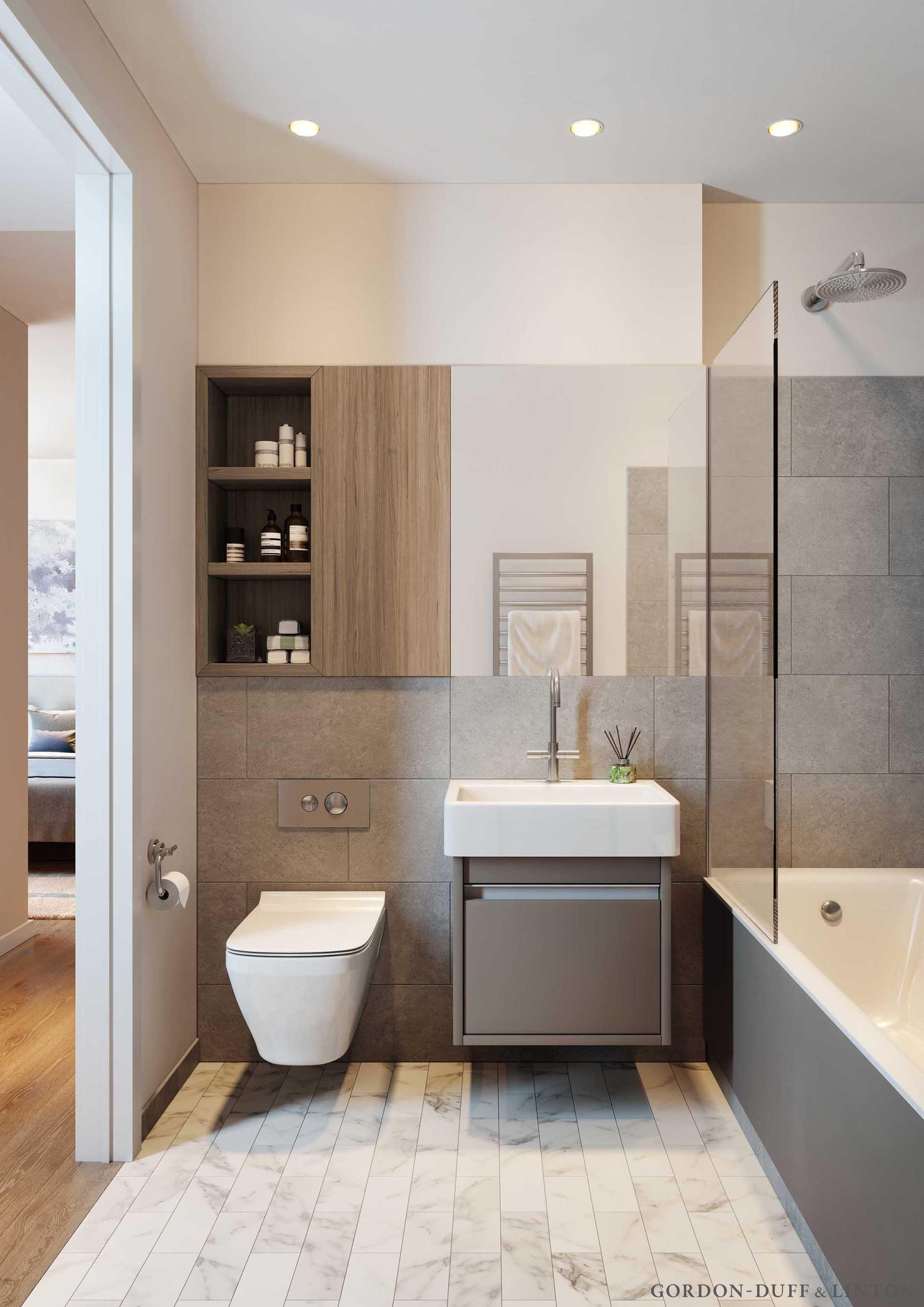 Contemporary condo bath modern bathroom chicago by jill jordan - The Maple Building Gordon Duff Linton Cgi Of Bathroom
