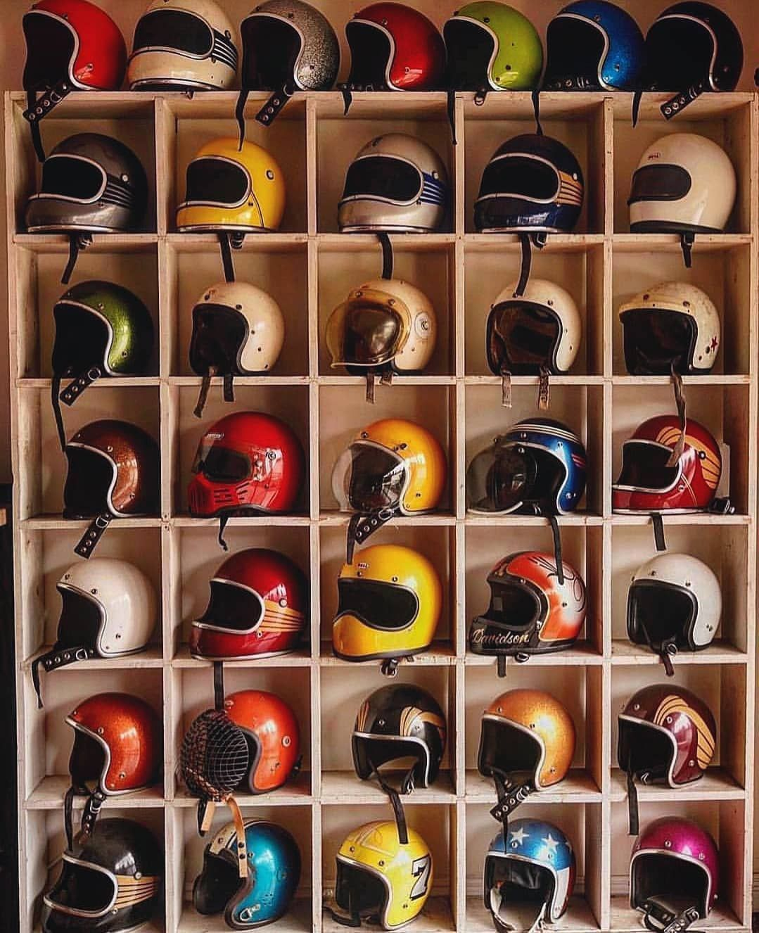 Now That S A Collection But Which One Would You Choose Follow Cafesofinsta Vintage Helmet Cafe Racer Helmet