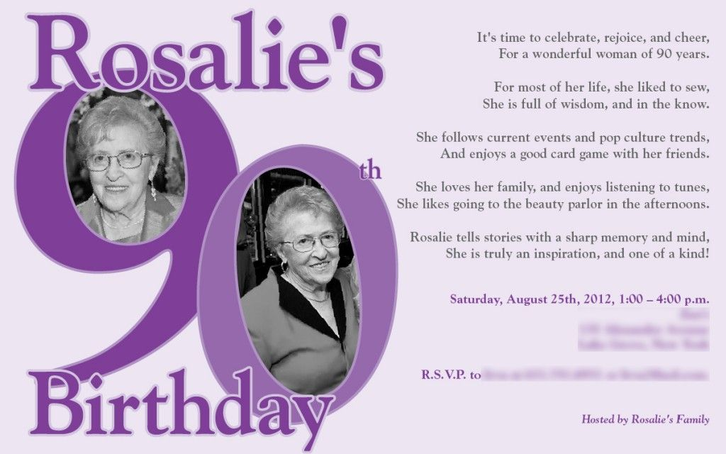90th Birthday Invitations Ideas For Anna