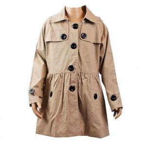 19c1528599f7 Z by Yoon Little Girls Khaki Black Contrast Buttons Hooded Trench ...