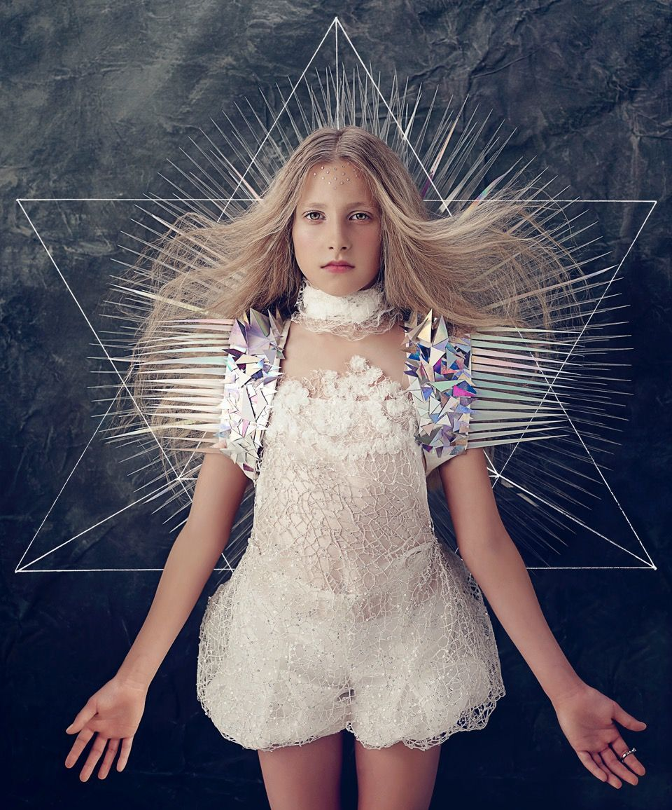 The photo essay Divine Beauty (2015) is the latest work of the artist and it represents Sacred Geometry; the study of how spirit is unified with matter, amplifying and resonating through the geomet...