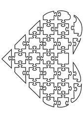 Coloriage puzzle de coeur Images pour lécoles et léducation Dessin