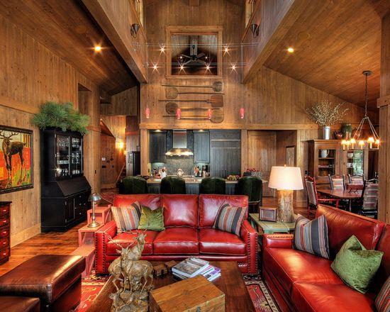 Martis Camp Cabin Modern Rustic Living Room Living Room Leather Rustic Living Room