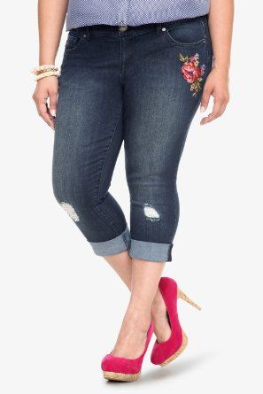 97fb056371c Torrid Plus Size Torrid Denim - Embroidered Flower Sophia Skinny Jeans