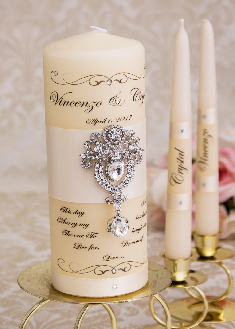 Ivory Unity Candle Set Wedding Personalized Ceremony Crystal Candles By Bridalqueen On Etsy