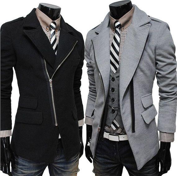 Men oblique zipper large lapel wool coat men Jacket