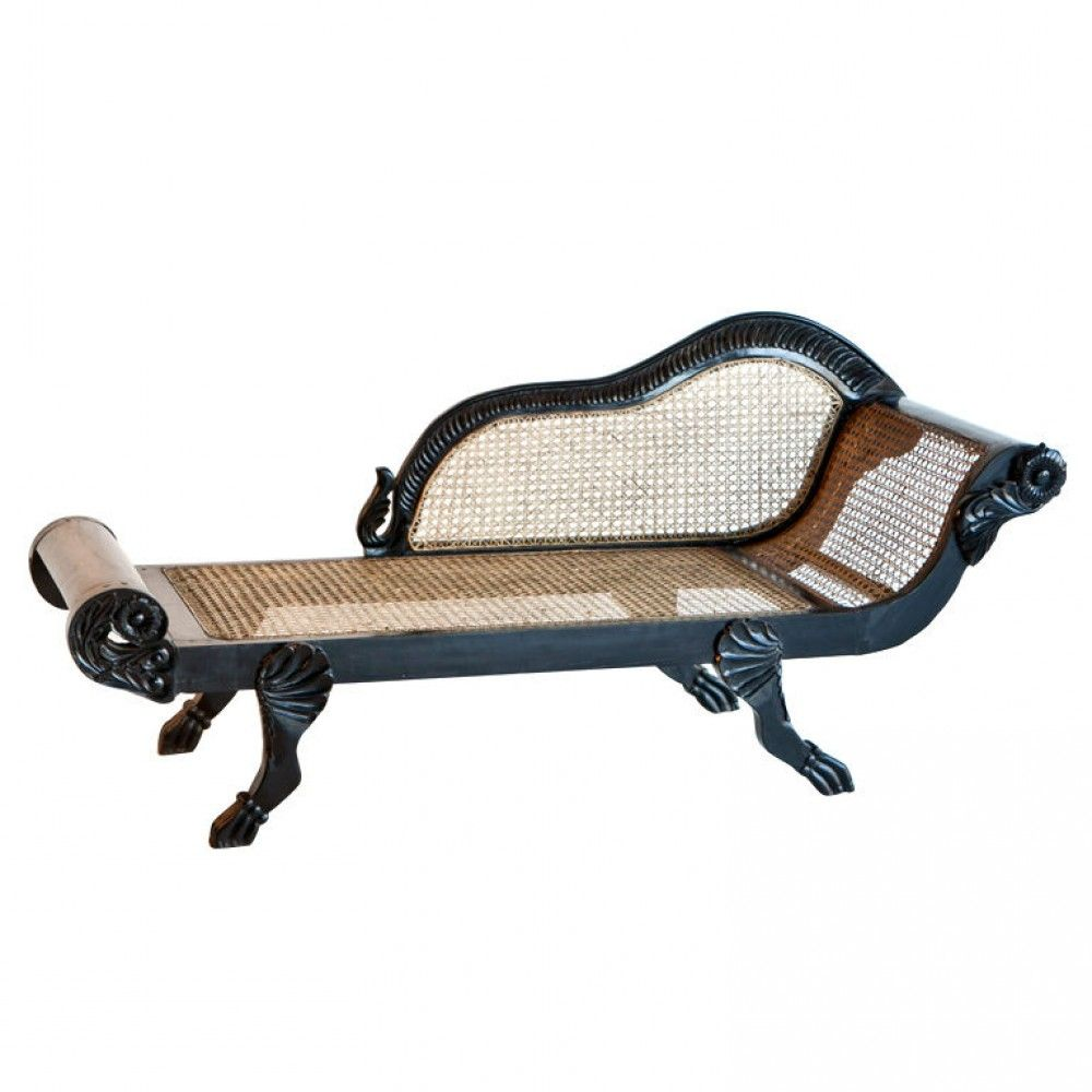 Dutch Colonial Chaise Lounge In Solid Ebony With Caned Seat And Back