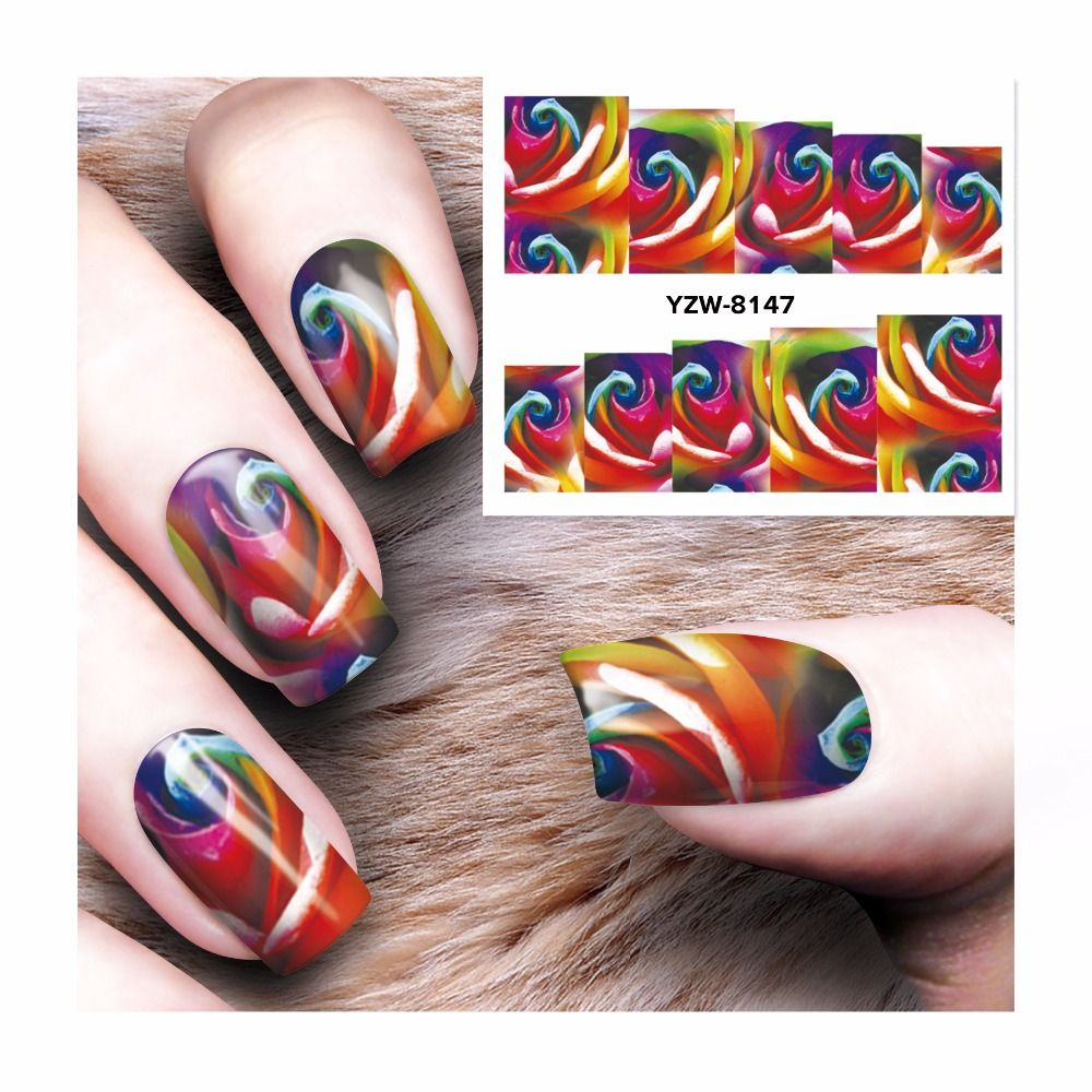 ZKO 2017 Women Fashion Water Transfer Decals Nail Stickers Foil ...