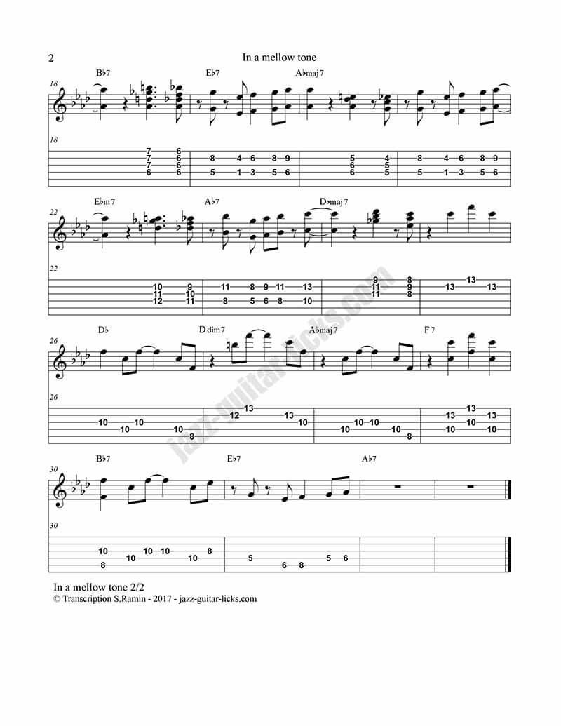 In A Mellow Tone Kenny Burrell Guitar Tabs 2 Jazz Standards