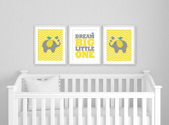 Grey Yellow Nursery Decor, Dream Big Little One, DIY Nursery Art ...