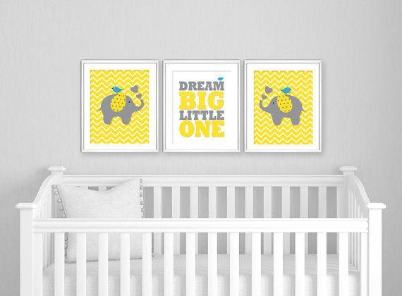 Nursery · grey yellow nursery decor dream big little one diy
