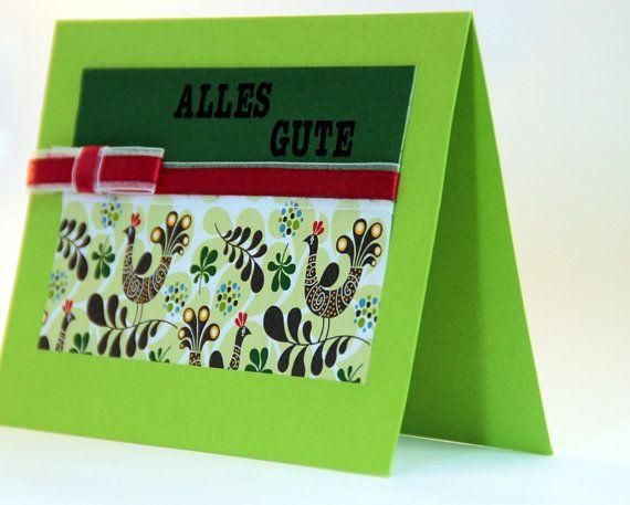 """Frische grüne Karte mit Umschlag. Wünsch """"Alles Gute"""" zum Geburtstag, zum Umzug, zur Hochzeit!"""