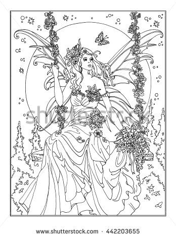 Coloring Page The Enchanted Fairy Fairy Coloring Pages Fairy Coloring Coloring Pages For Grown Ups
