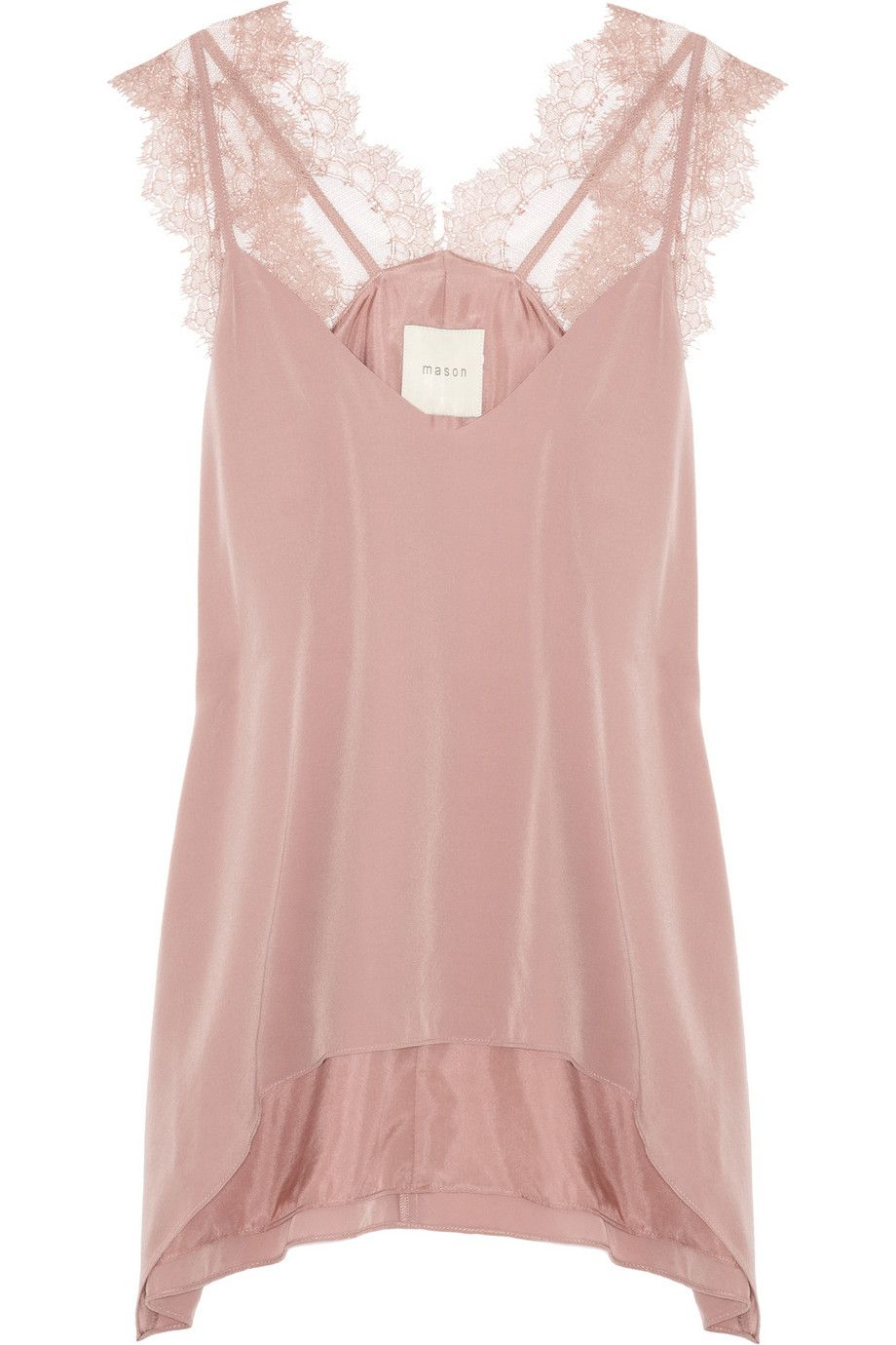 Mason by Michelle Mason|Lace and washed-silk camisole|NET-A-PORTER.COM  Might work well for Colour Summer-Types!