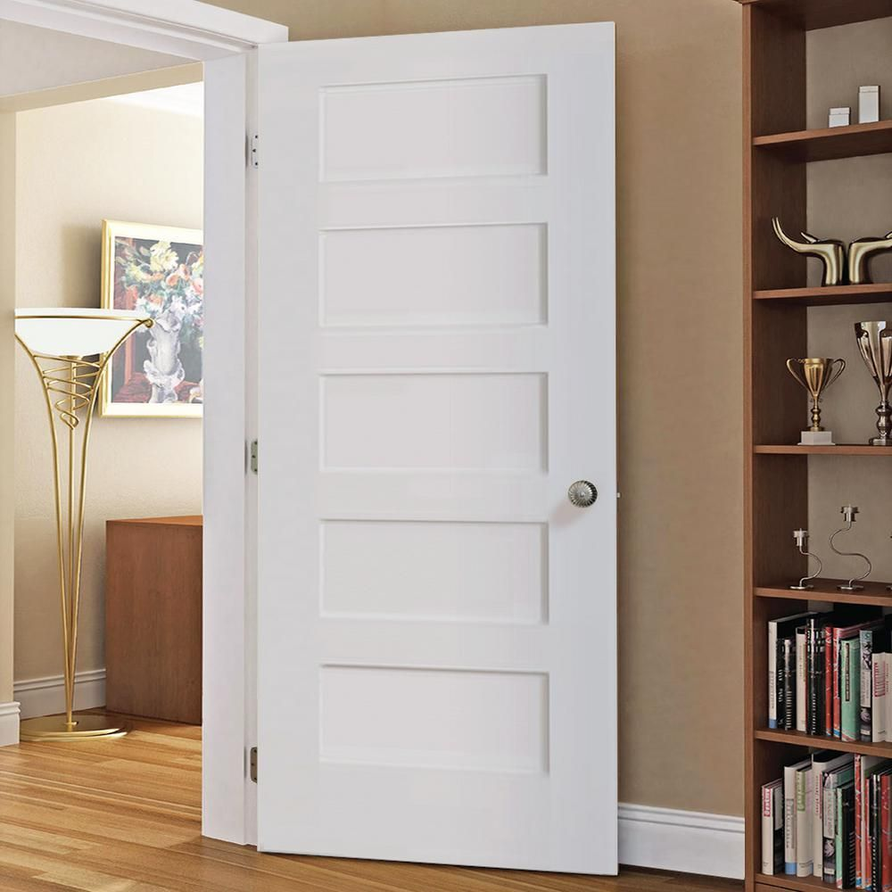 Kimberly Bay 28 In X 80 In White 5 Panel Shaker Solid Core Wood