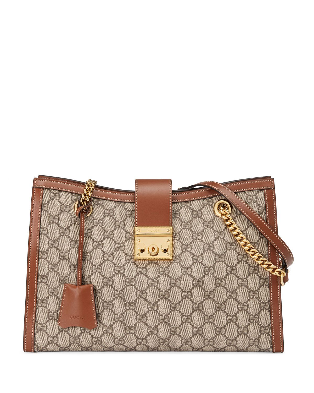 dcac7326044440 Gucci Padlock GG Supreme Canvas Medium Shoulder Bag | Neiman Marcus