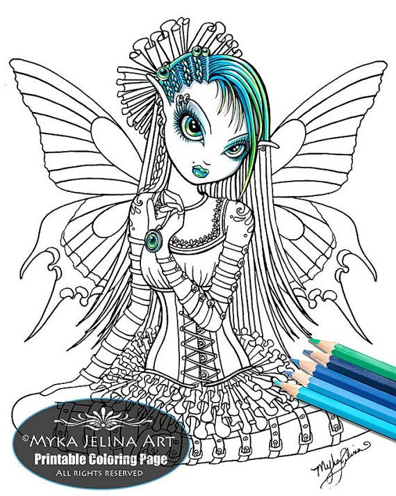 katy butterfly cute gothic fairy digital download coloring page line art myka jelina art. Black Bedroom Furniture Sets. Home Design Ideas