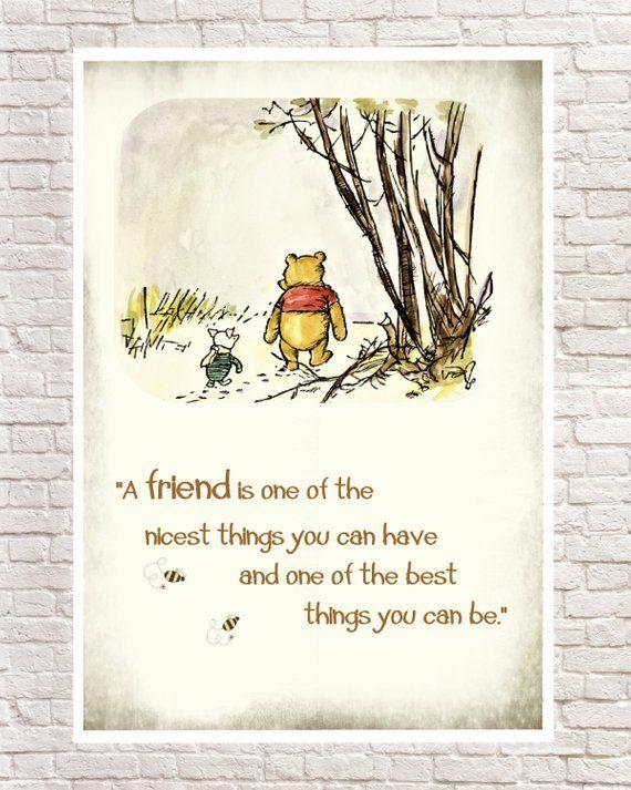 Winnie der Pooh Druck, klassische Pooh, Pooh Wandkunst, Pooh Kunstdrucke, Ferkel, Ferkel Zitate, Pooh Kindergarten Kunst. Geburtstagsgeschenk, Weihnachtsgeschenk