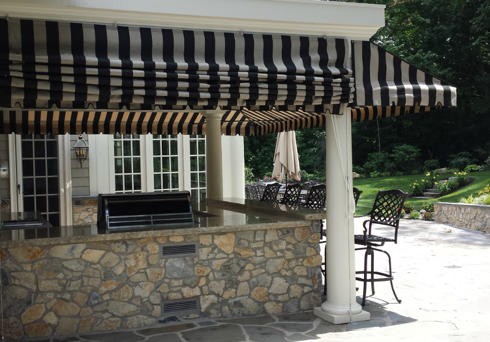 Striped Porch Awning With A Pleated Drop Curtain Kreider S Canvas Service Inc Porch Awning Porch Shades Porch