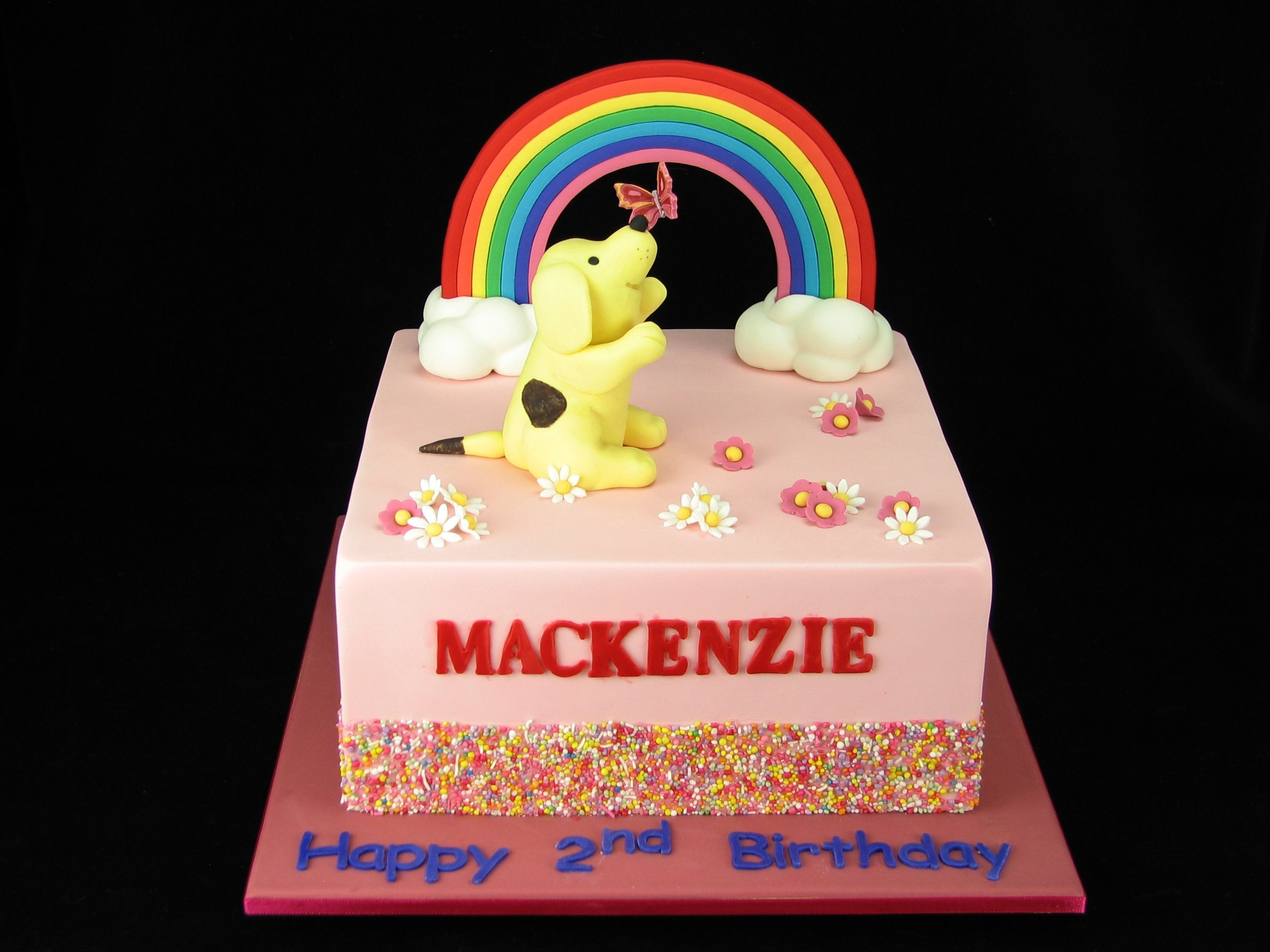 A pretty rainbow cake with spot the dog chasing a